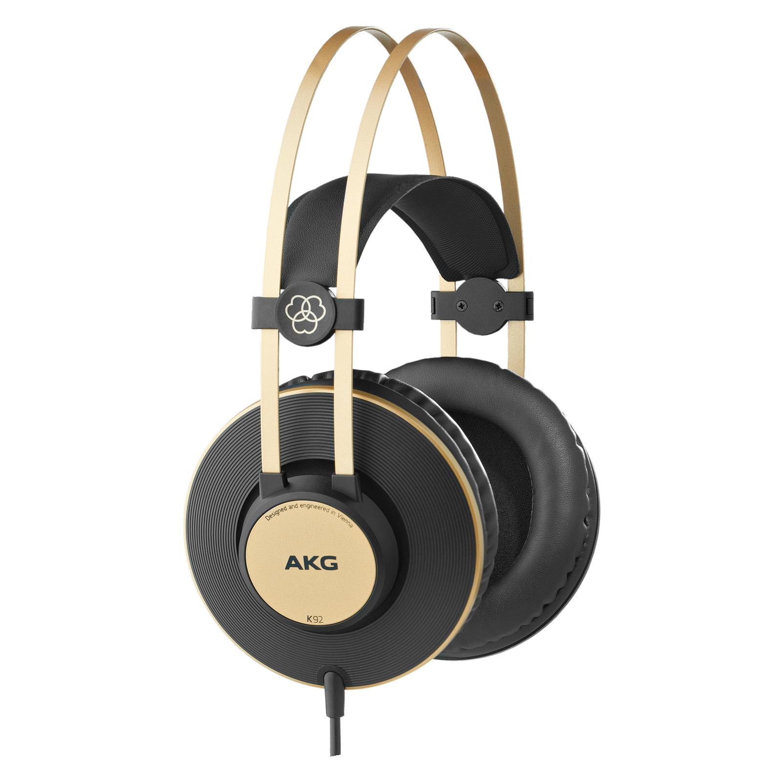 AKG K 92 - zamknięte słuchawki wokółuszne, 40mm drivers,  samodopasowujące się, komfortowe, lekkie ze złotymi akcentami