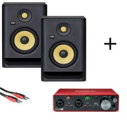 KRK RP5 G4 - pair of activ monitors + Focusrite Scarlett 2i2 3rd Gen + cable