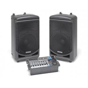 """Samson XP1000B - zestaw nagłośnieniowy z wbudowanym interfejsem Bluetooth, 2 x 500W klasa-D, 2x10"""" LF + 1HF, mikser 4xMIC/LINE, 2xSTEREO JACK/RCA, monitor OUT, REC OUT, , miernik poziomu LED, gniazdo USB Wireless."""